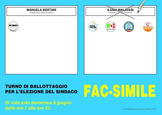 Fac-simile scheda ballottaggio